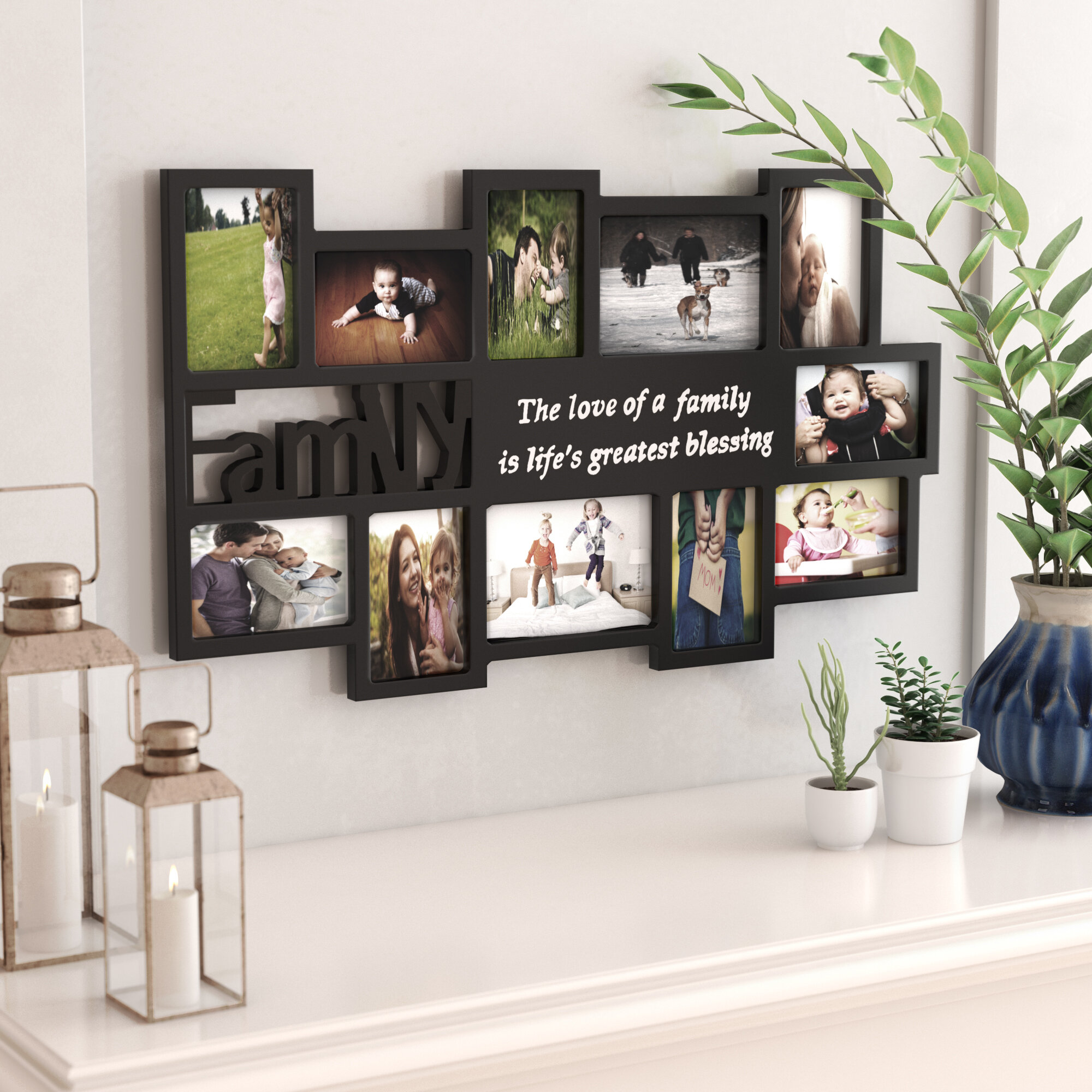 Ebern Designs Clippercove 11 Opening Wooden Photo Collage Wall