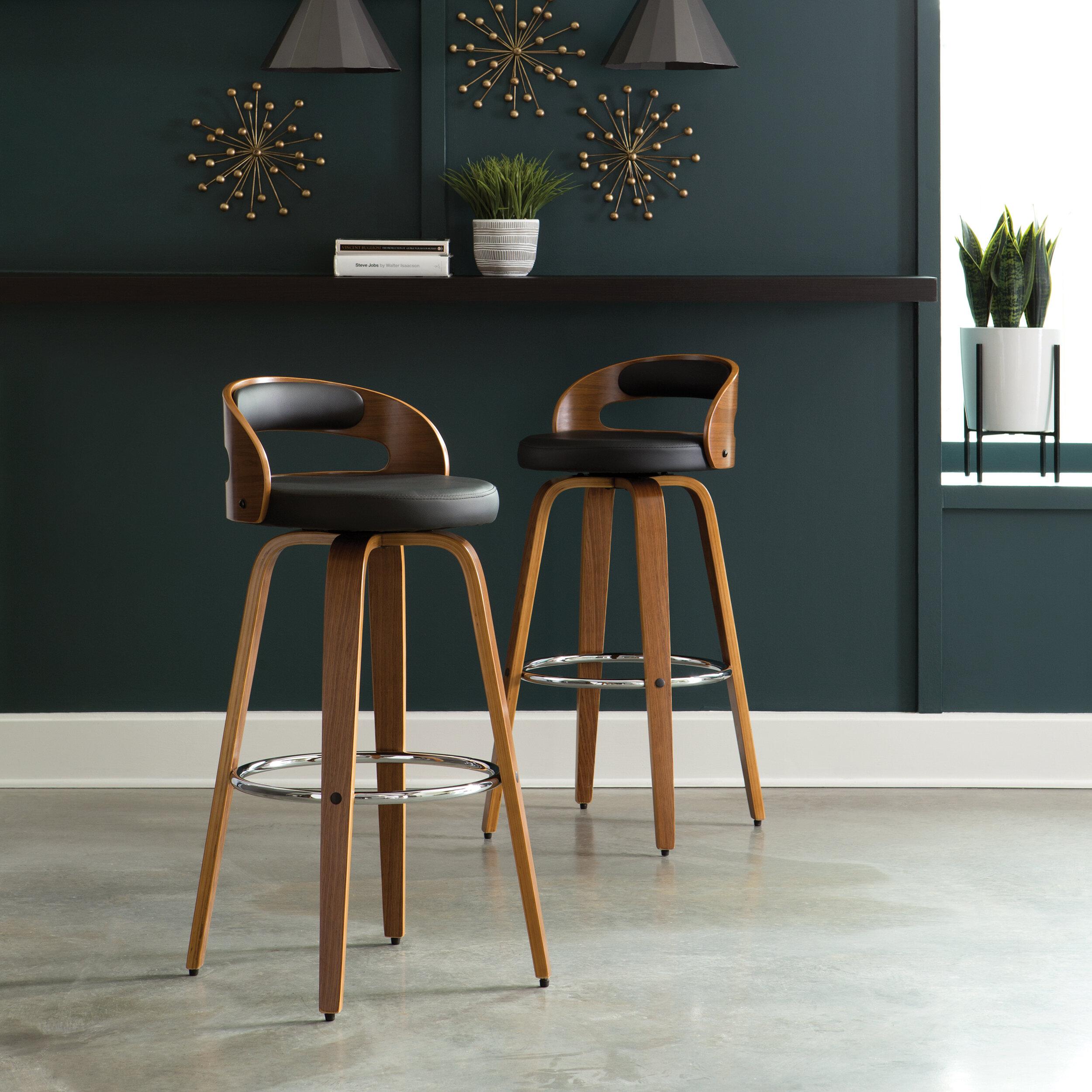 Strange Labelle Mid Century Modern Low Back Bentwood Frame 30 Swivel Bar Stool Dailytribune Chair Design For Home Dailytribuneorg