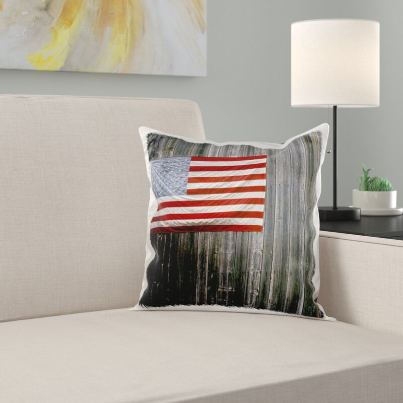 New England American Flag on Barn Marilyn Parver Pillow Cover