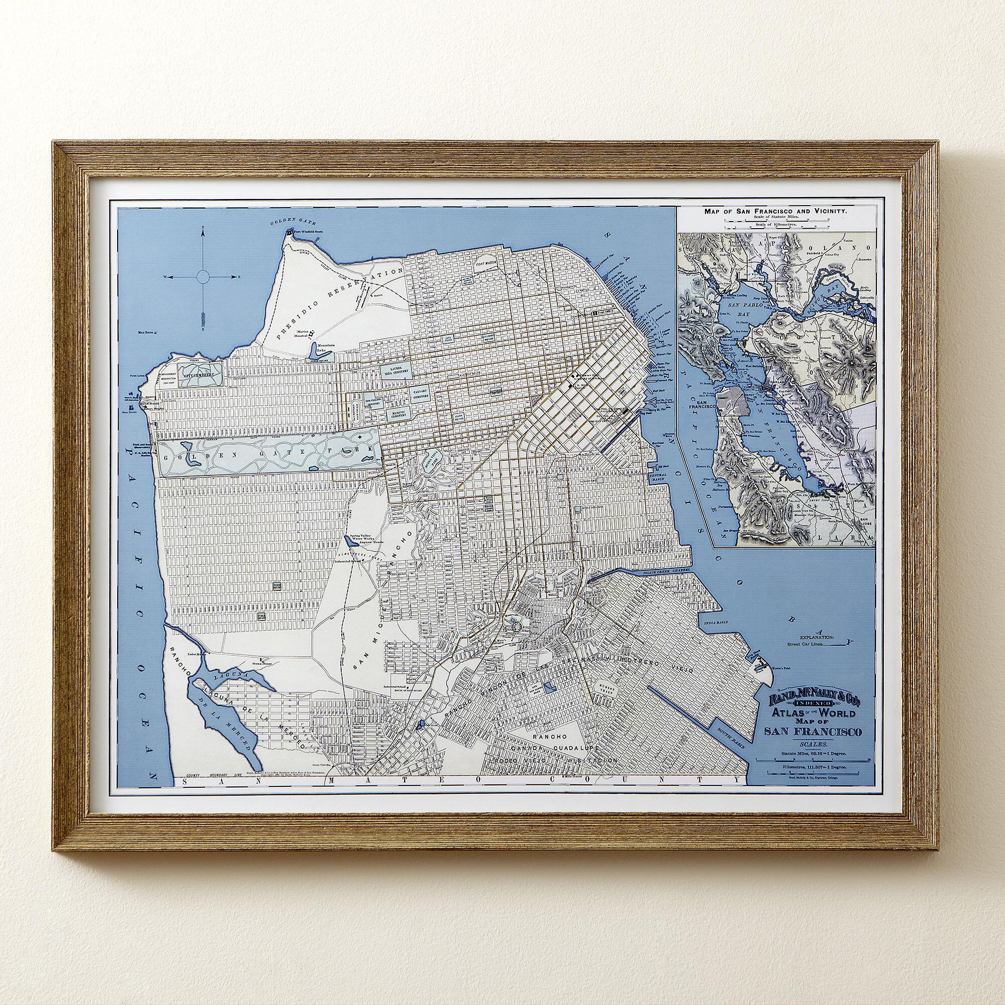Birch Lane™ San Francisco Map Framed Print   Birch Lane