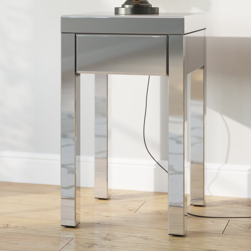 Deklan Mirrored End Table With Storage