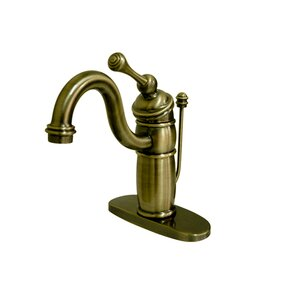 Victorian Single Handle Mono Deck Bathroom Faucet With Brass Pop Up Drain