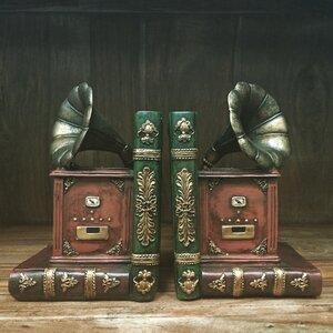 2-tlg. Buchstützen Vintage Gramophone von Cast..