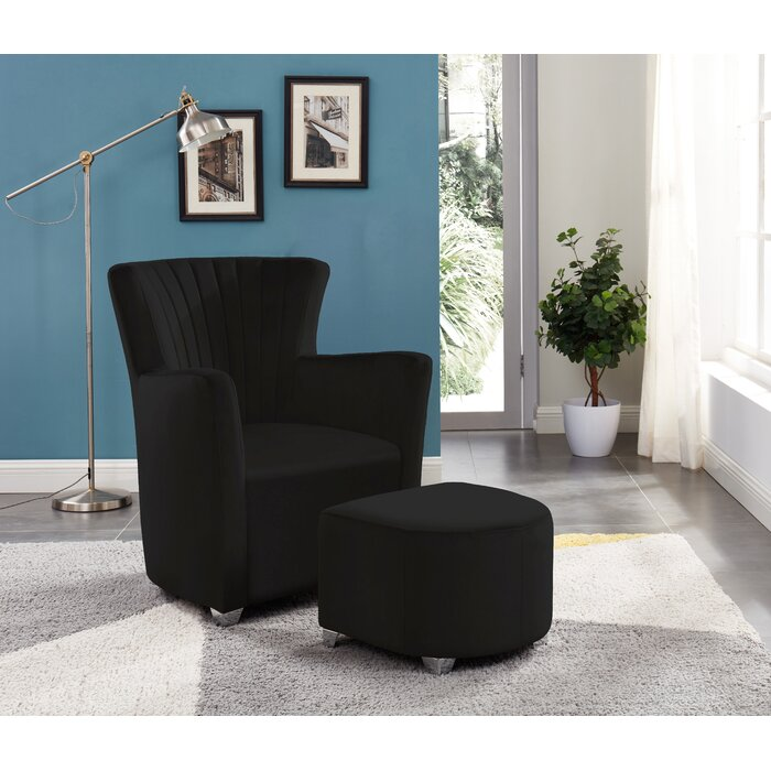 Fabulous Creighton Club Chair With Ottoman Black Velvet Bralicious Painted Fabric Chair Ideas Braliciousco