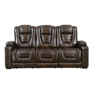 Barnhart Dual Power Leather Reclining Sofa