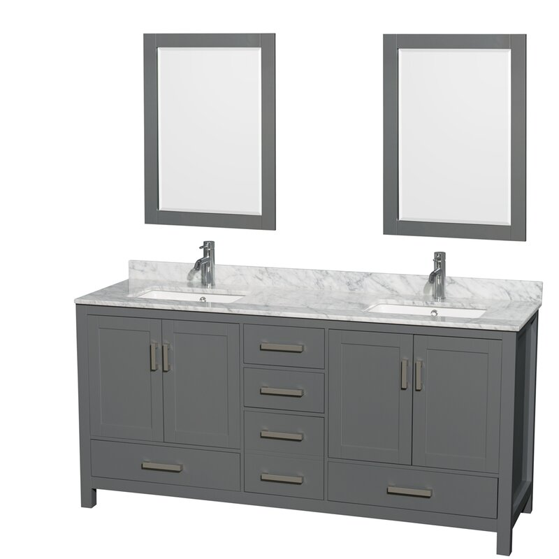 Wyndham Collection Sheffield 72 Inch Double Bathroom Vanity In Dark