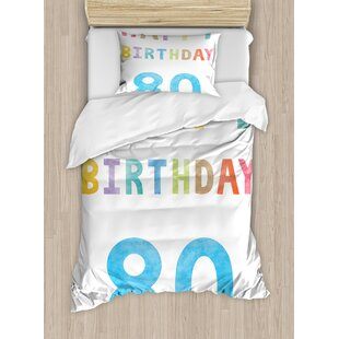80th Birthday Decorations Old Ancient Abstract Vintage Happy Party Theme Artwork Duvet Cover Set