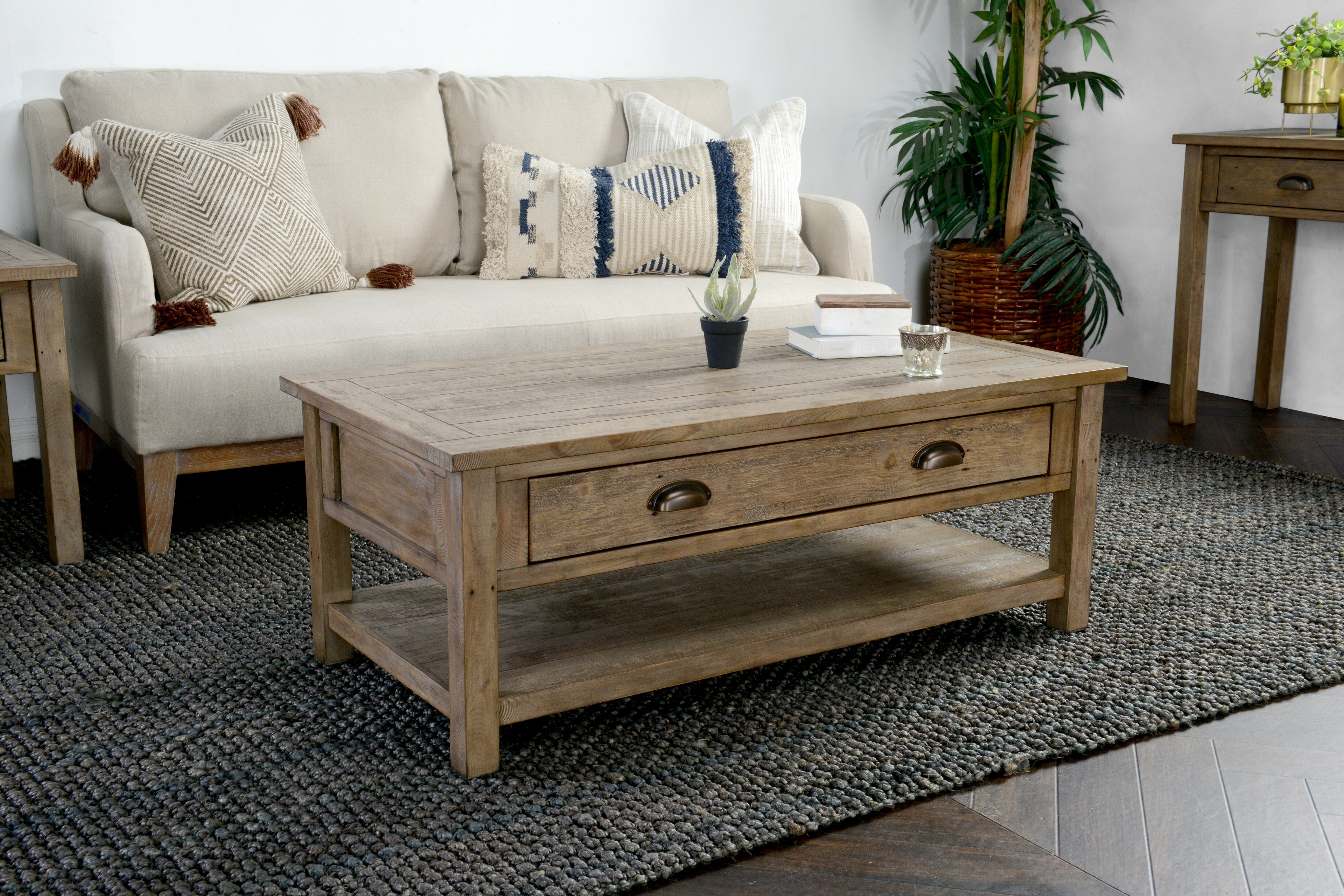 Highland dunes enfield driftwood coffee table with storage wayfair