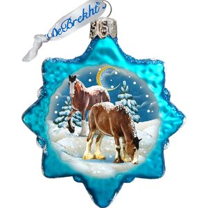 Keepsake Santa's Horse Glass Ornament
