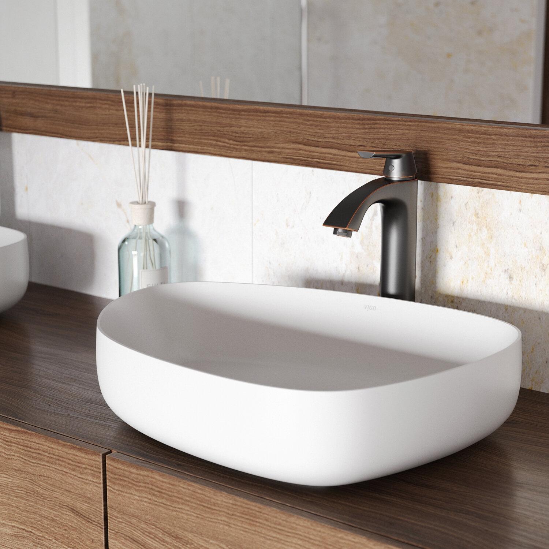 VIGO VIGO Matte Stone Specialty Vessel Bathroom Sink with Faucet ...