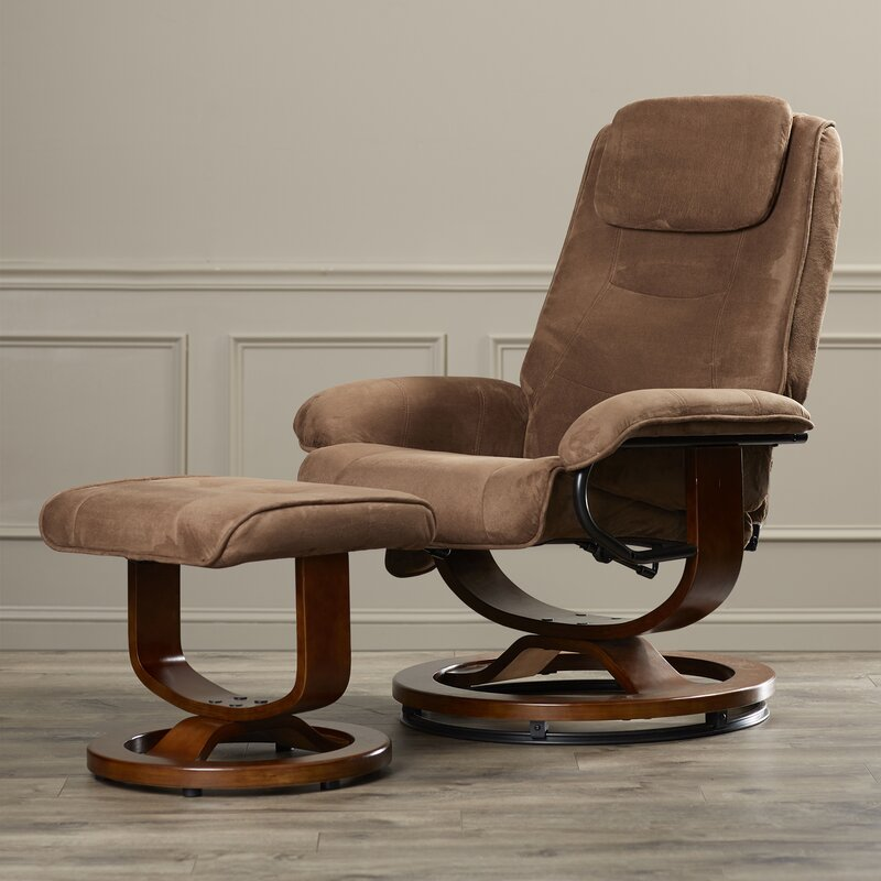 Charlton Home Reclining Heated Massage Chair With Ottoman