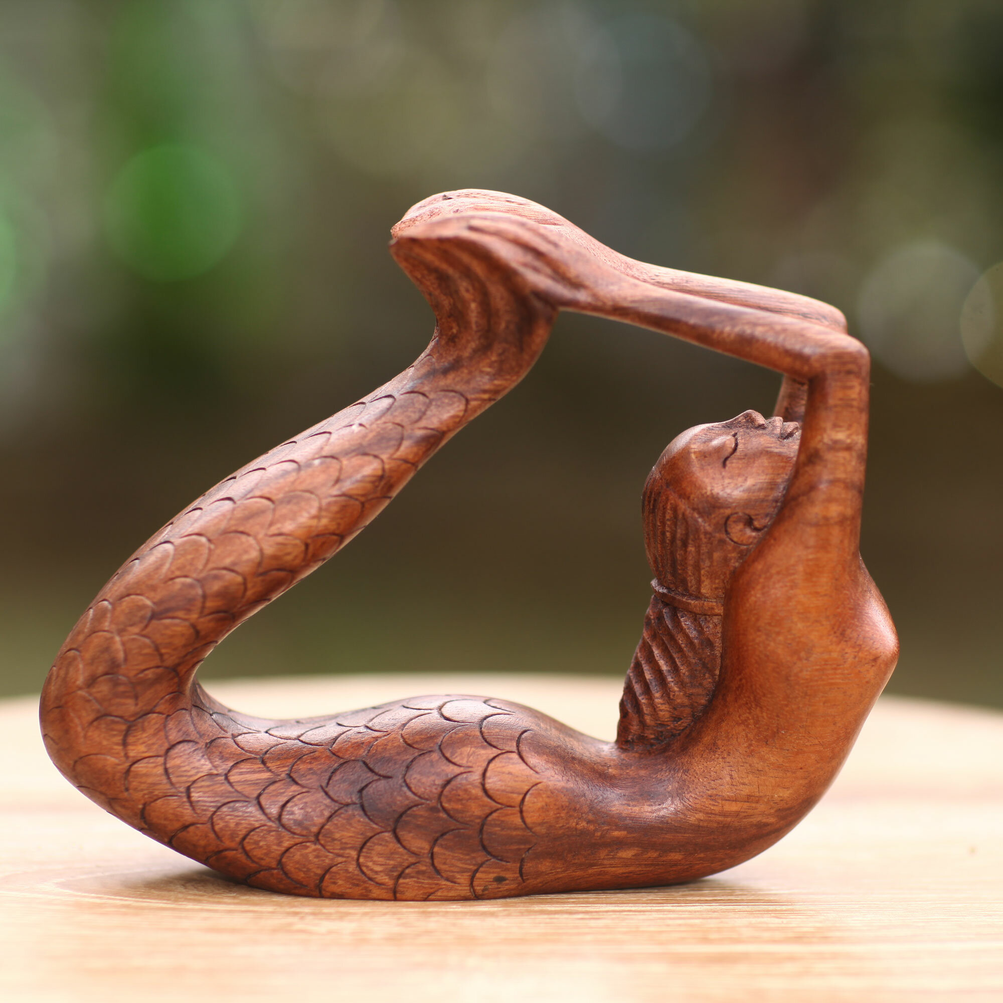 Made Tresna Signed Balinese Carved In Wood Mermaid Sculpture