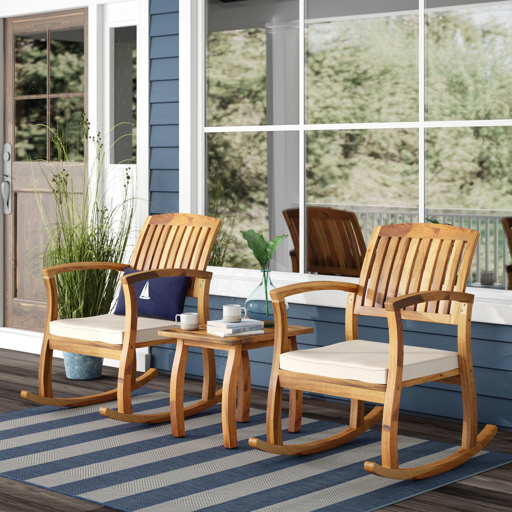 00ffdc9361b Beachcrest Home Coyne Acacia 3 Piece Outdoor Set   Reviews