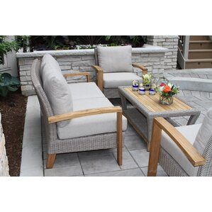 Attractive Dillard Teak And Wicker 4 Piece Deep Seating Group With Cushion Part 9