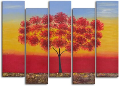 778efffcdb457 My Art Outlet 'Red Tree Quintet' 5 Piece Painting on Wrapped Canvas Set