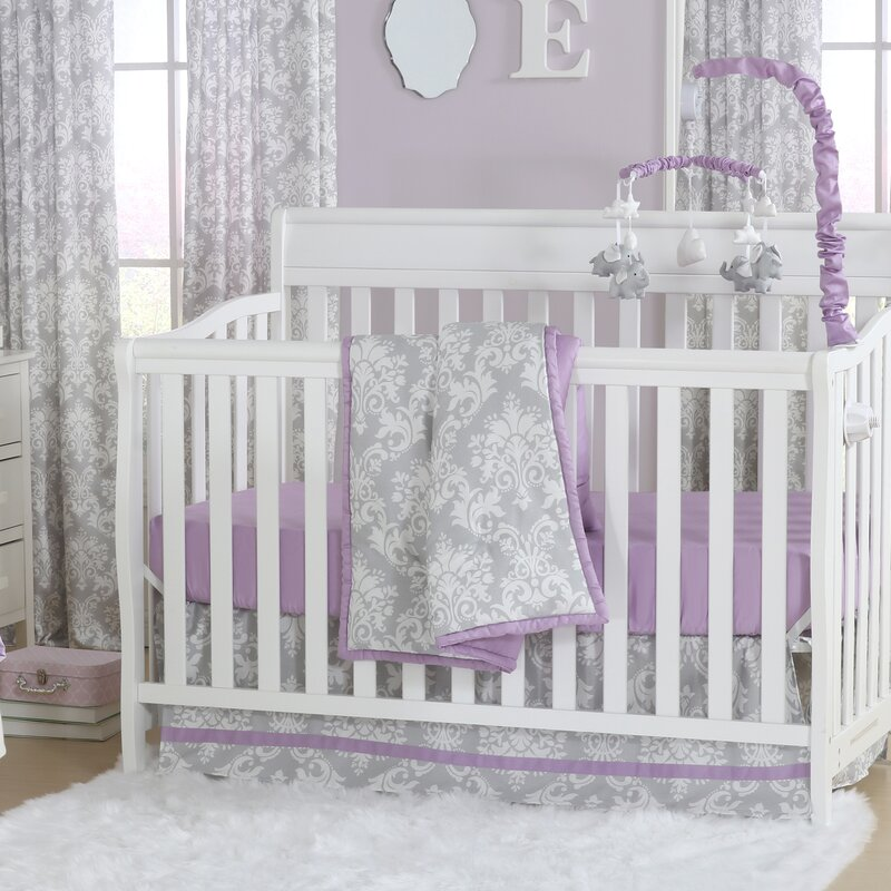 Damsel Damask 4 Piece Crib Bedding Set