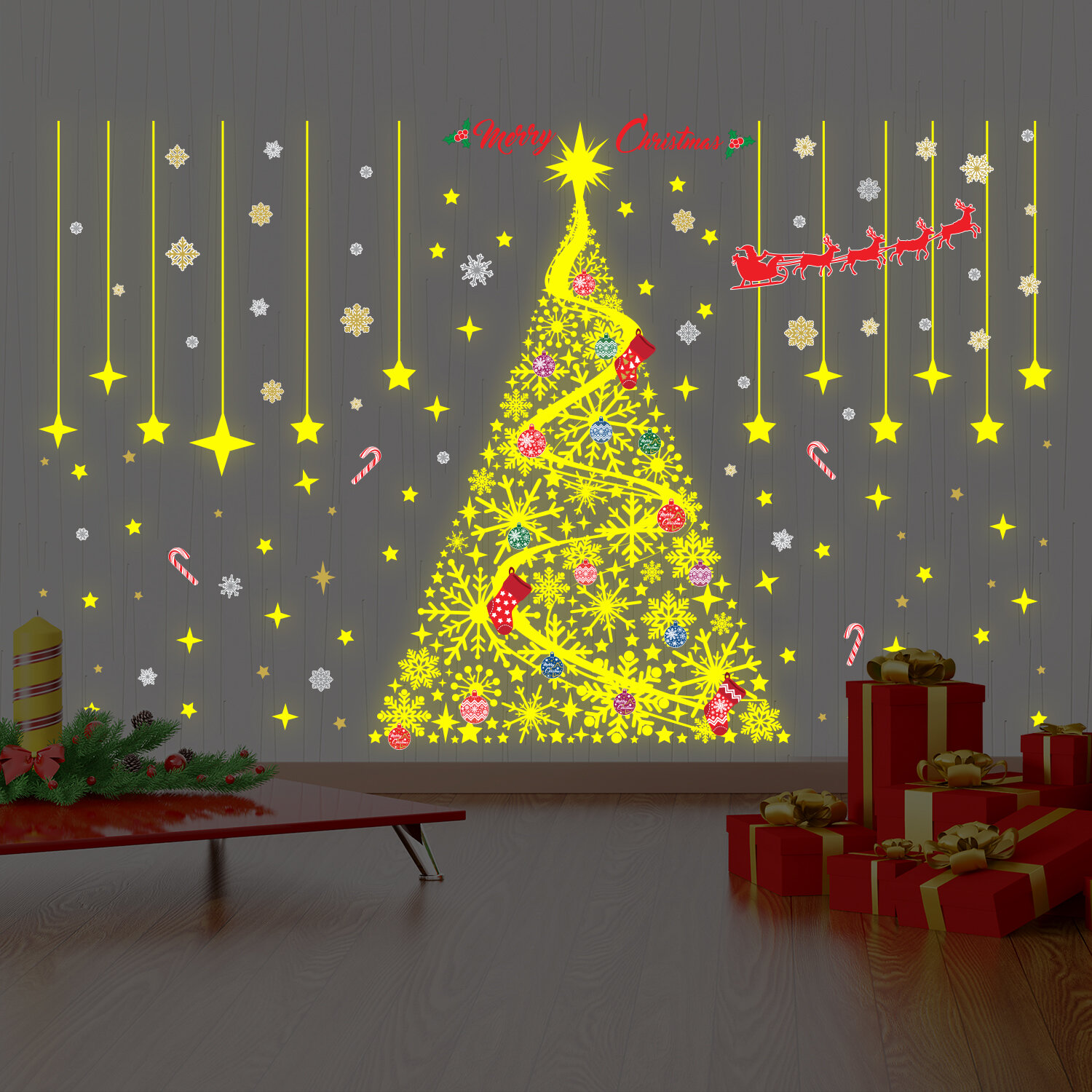 Modern Christmas Wall Sticker Decorations Illustration - The Wall ...
