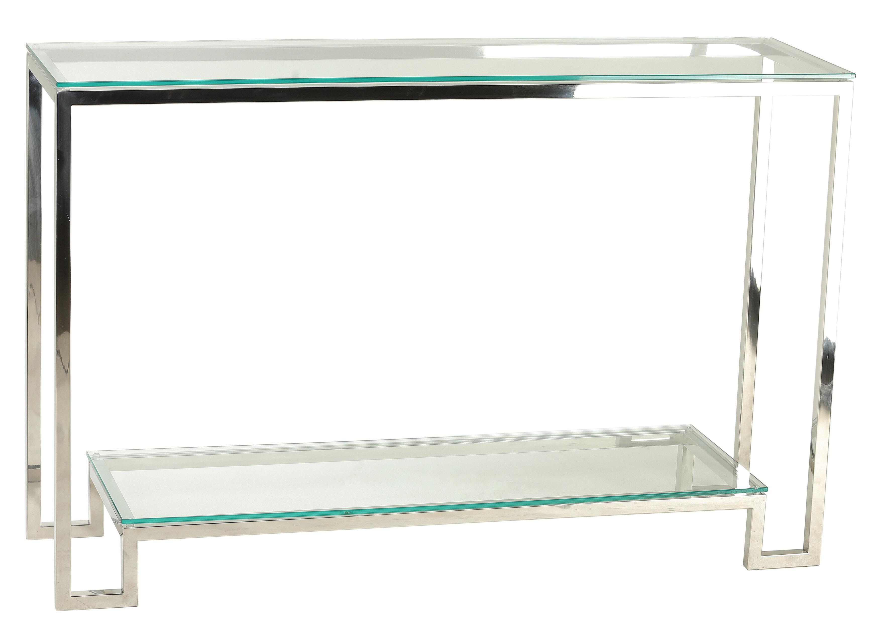 Mercer41 shepler contemporary 2 shelf glass console table reviews wayfair