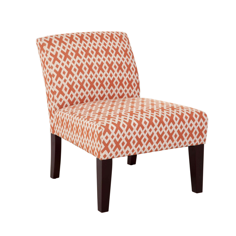 Merveilleux Wrought Studio Hurlbert Orange Lattice Armless Slipper Chair | Wayfair