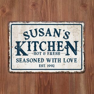 Personalized Distressed Vintage-Look Kitchen Metal Sign Wall Décor & Rustic Metal Wall Art Youu0027ll Love | Wayfair