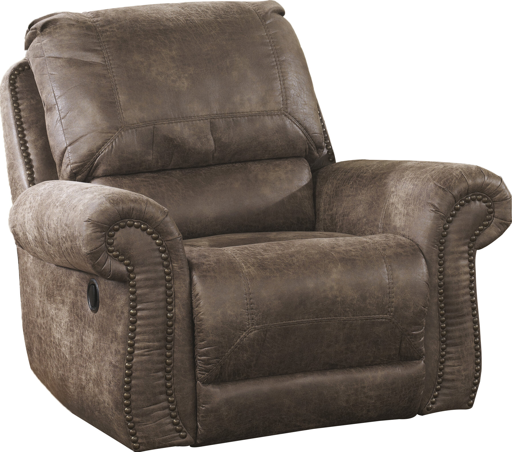 recliner glider front downtown gallery view chocolate sanderson microfiber