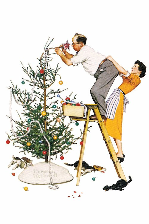 Charlton Home 'Trimming the Tree' by Norman Rockwell Painting Print on  Wrapped Canvas | Wayfair - Charlton Home 'Trimming The Tree' By Norman Rockwell Painting Print