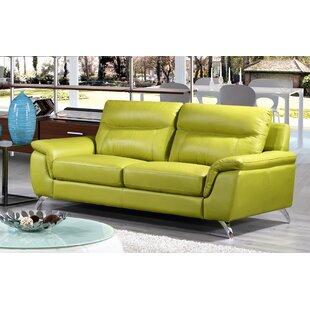 Olive Green Leather Sofa | Wayfair.ca