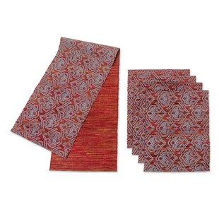 Liem Hauw 5 Piece Handmade Table Runner and Placemat Set  sc 1 st  Wayfair & Table Runner And Placemat Set | Wayfair