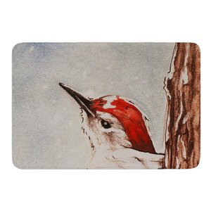 Downy Woodpecker by Brittany Guarino Bath Mat