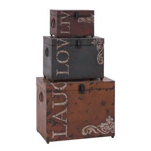 Androscogin Live Love Laugh 3 Piece Storage Trunk