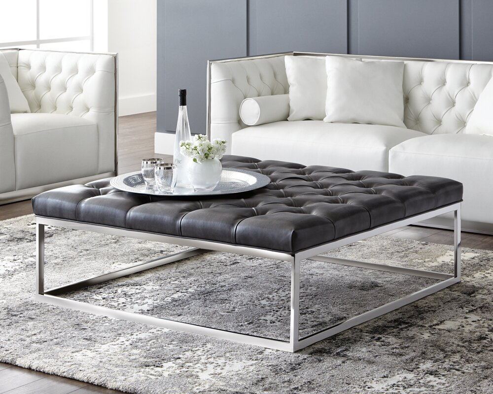 Sunpan Modern Club Sutton Square Large Leather Ottoman