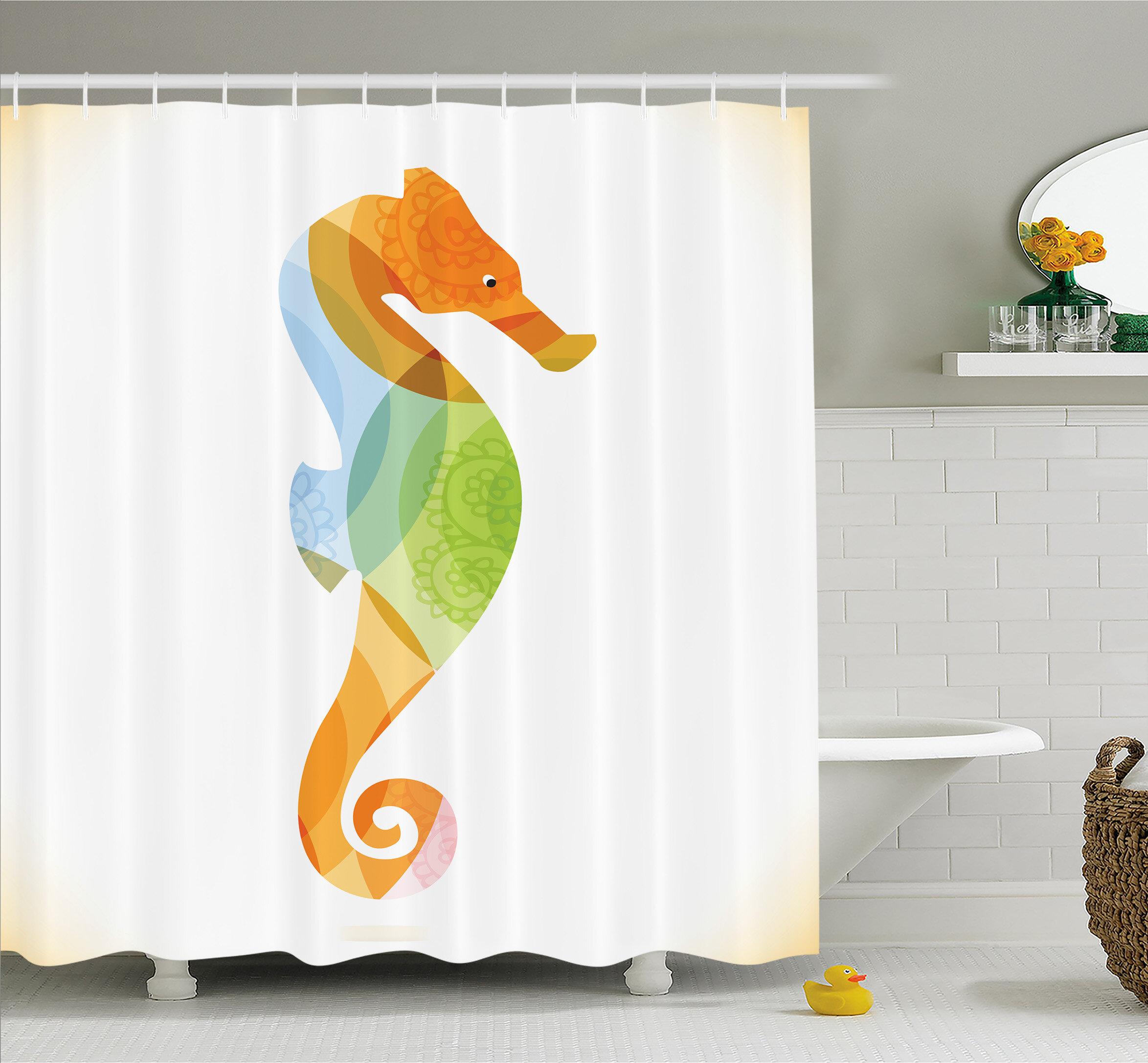 Ambesonne Animal Silhouette Of Sea Creature With Coral Reef Patterns Inside Aquarium Icon Shower