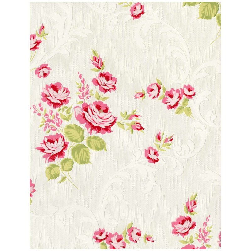 "Stocks Jocelyn 33' x 20"" Floral and Botanical Wallpaper Roll"
