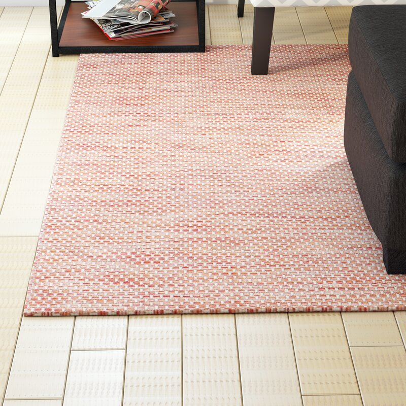 Mullen hand woven red beige indoor outdoor area rug for Woven vinyl outdoor rugs