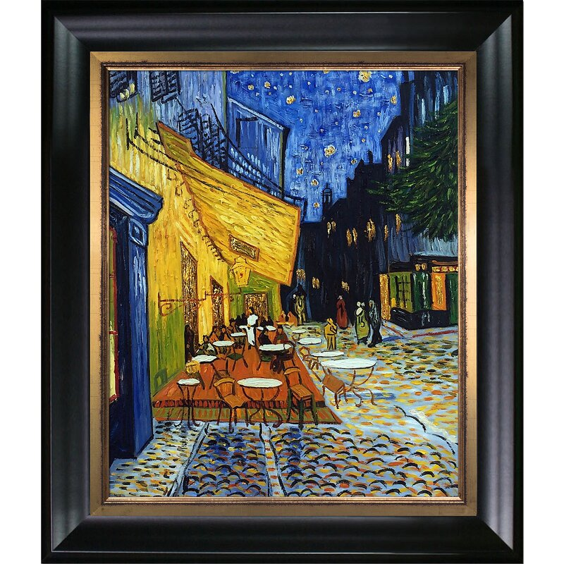 Tori Home Cafe Terrace at Night Metallic Embellished by Vincent Van ...