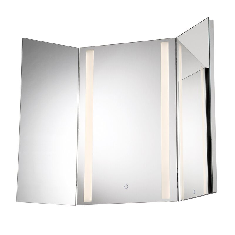 Orren Ellis Stoltenberg Tri Fold Led Bathroom Vanity Mirror Wayfair