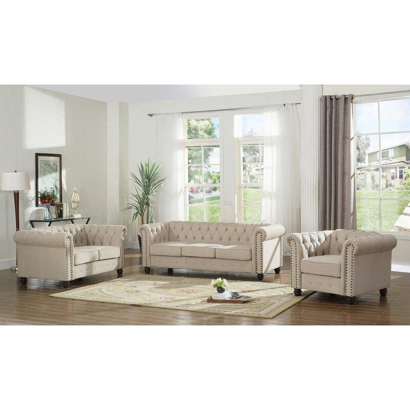 Dineen 3 Piece Living Room Set