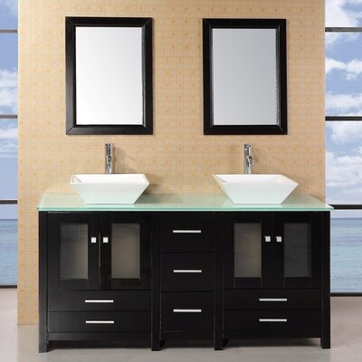 "Bathroom Vanity Jackson Ms kokols 60"" double bathroom vanity set with mirror & reviews | wayfair"