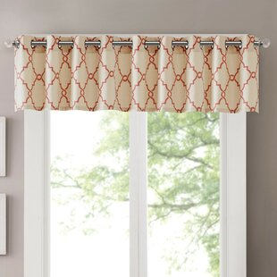 Grommet Eyelet Red Valances Kitchen Curtains