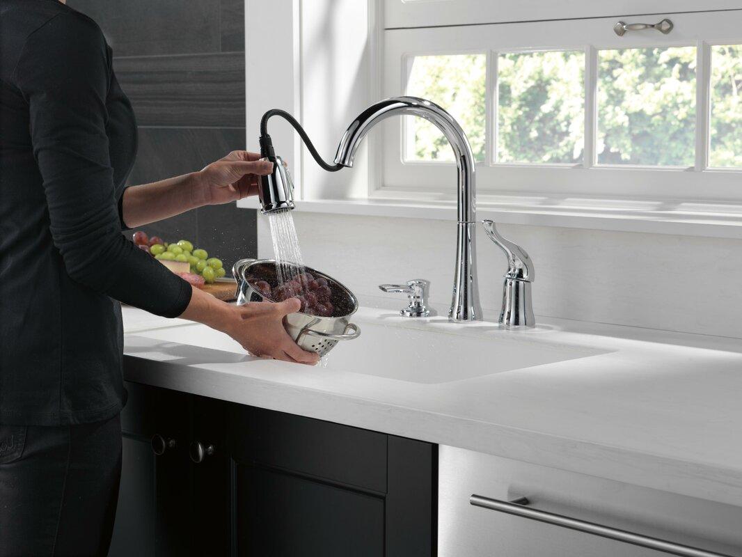 delta kate single handle kitchen faucet with soap dispenser