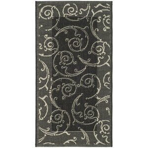 Short Black/Sand Swirl Indoor/Outdoor Area Rug