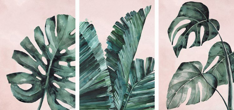 Wrought Studio 'Tropical Leaves Triptych' Watercolor Paiting Print on Wrapped Canvas