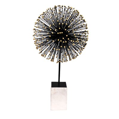 Brayden Studio Black Ball on Stand Sculpture