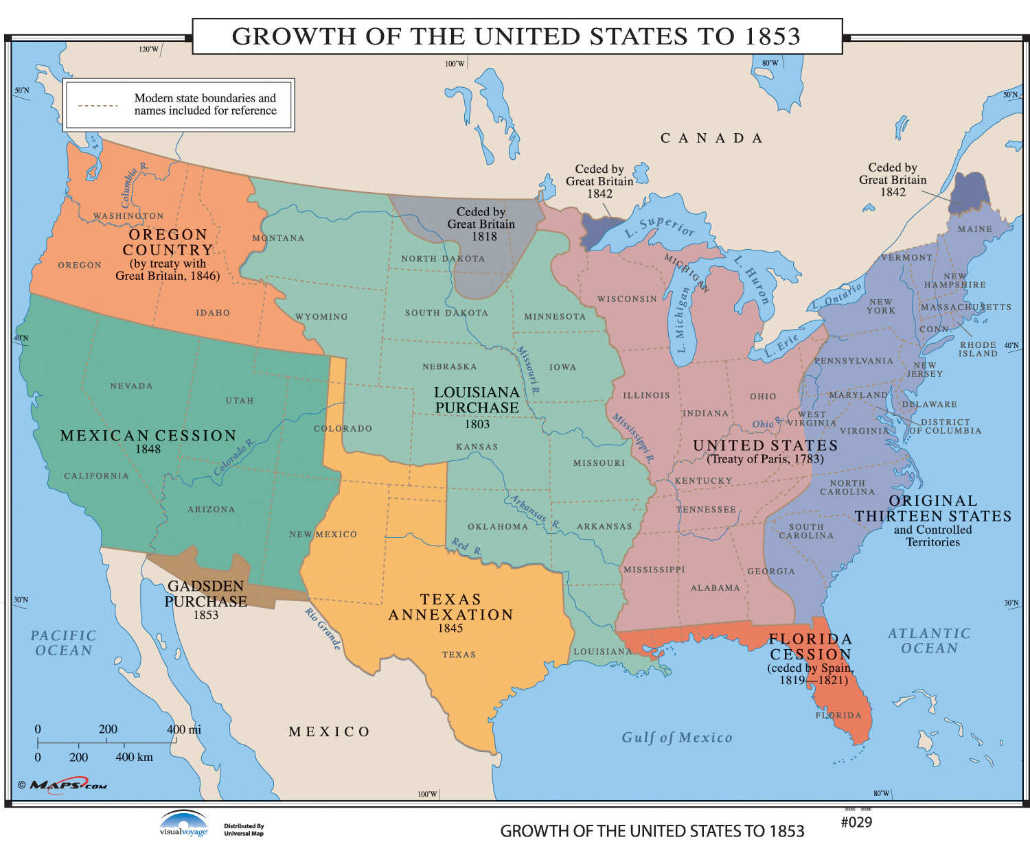 Image Map Of United States.Universal Map U S History Wall Maps Growth Of U S To 1853 Wayfair