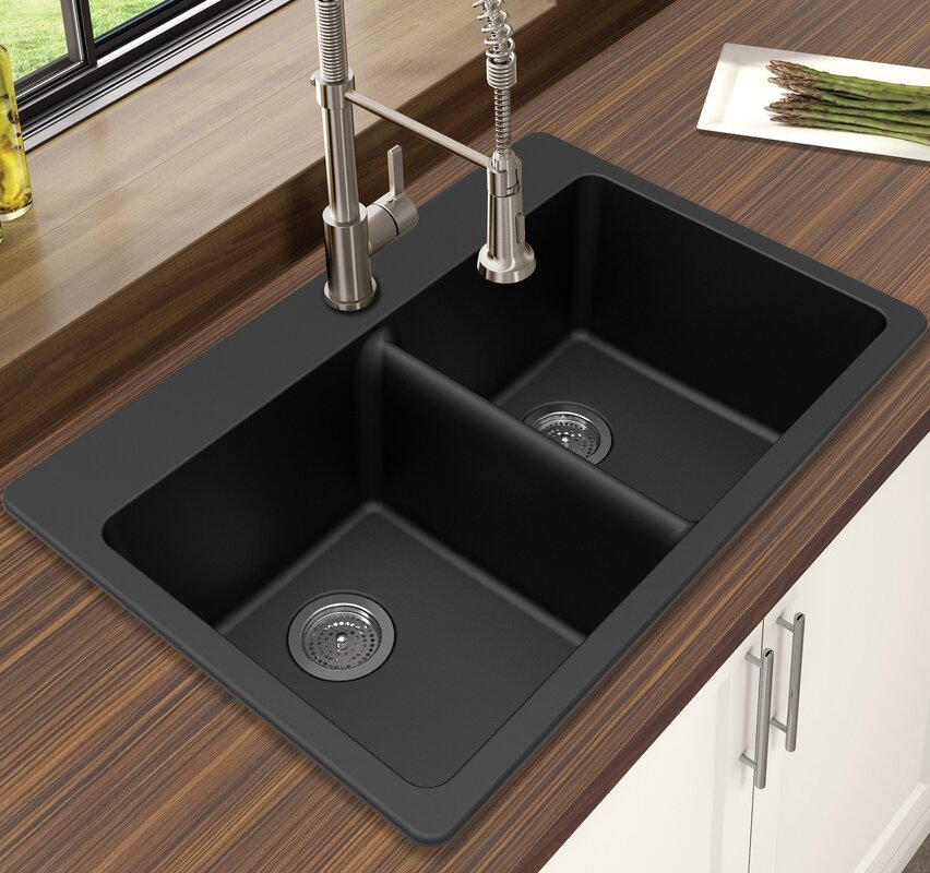 Winpro granite quartz 33 x 22 double bowl drop in kitchen sink granite quartz 33 x 22 double bowl drop in kitchen sink workwithnaturefo