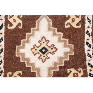 Affordable Jaelyn Morocan Oriental Hand-Knotted Wool Brown/White Area Rug By Bloomsbury Market