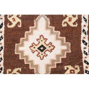 Order Jaelyn Morocan Oriental Hand-Knotted Wool Brown/White Area Rug ByBloomsbury Market