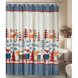 Jolly Holidays Forest Friends Fabric Shower Curtain Set Of 13