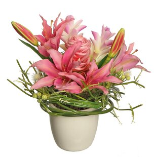 Faux pink flowers in vase wayfair lily and ginger flower in vase mightylinksfo