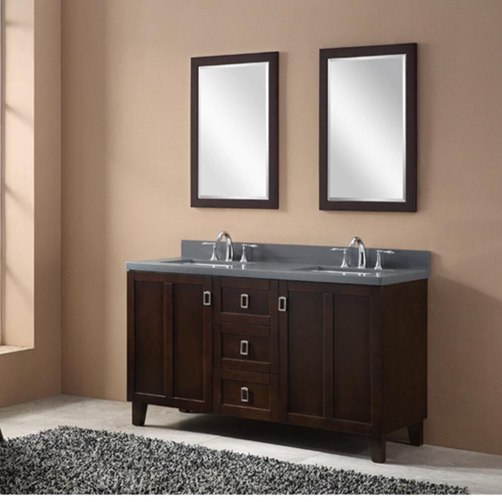 InFurniture 60 Double Sink Bathroom Vanity Set